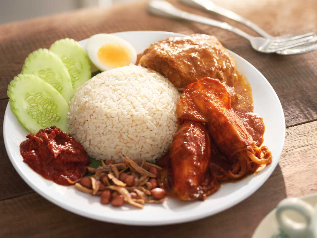 Nasi Lemak With Curry Chicken + Sweet & Spicy Sotong